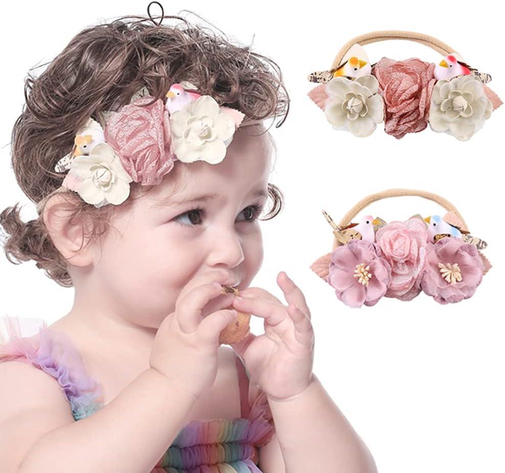Wiwpar Flower Crown Headband Gauze Flower Headwear with Birds Elastic Head Piece Girl's Hairbands for Toddler and Childrens (Pink)