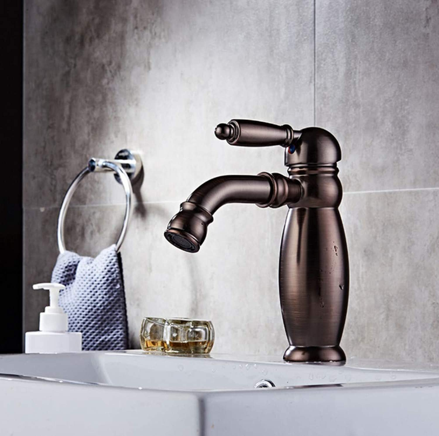 Ink basin faucet mixer water tap, Oil Rubbed Bronze bathroom wash basin faucets, Copper basin faucet hot and cold