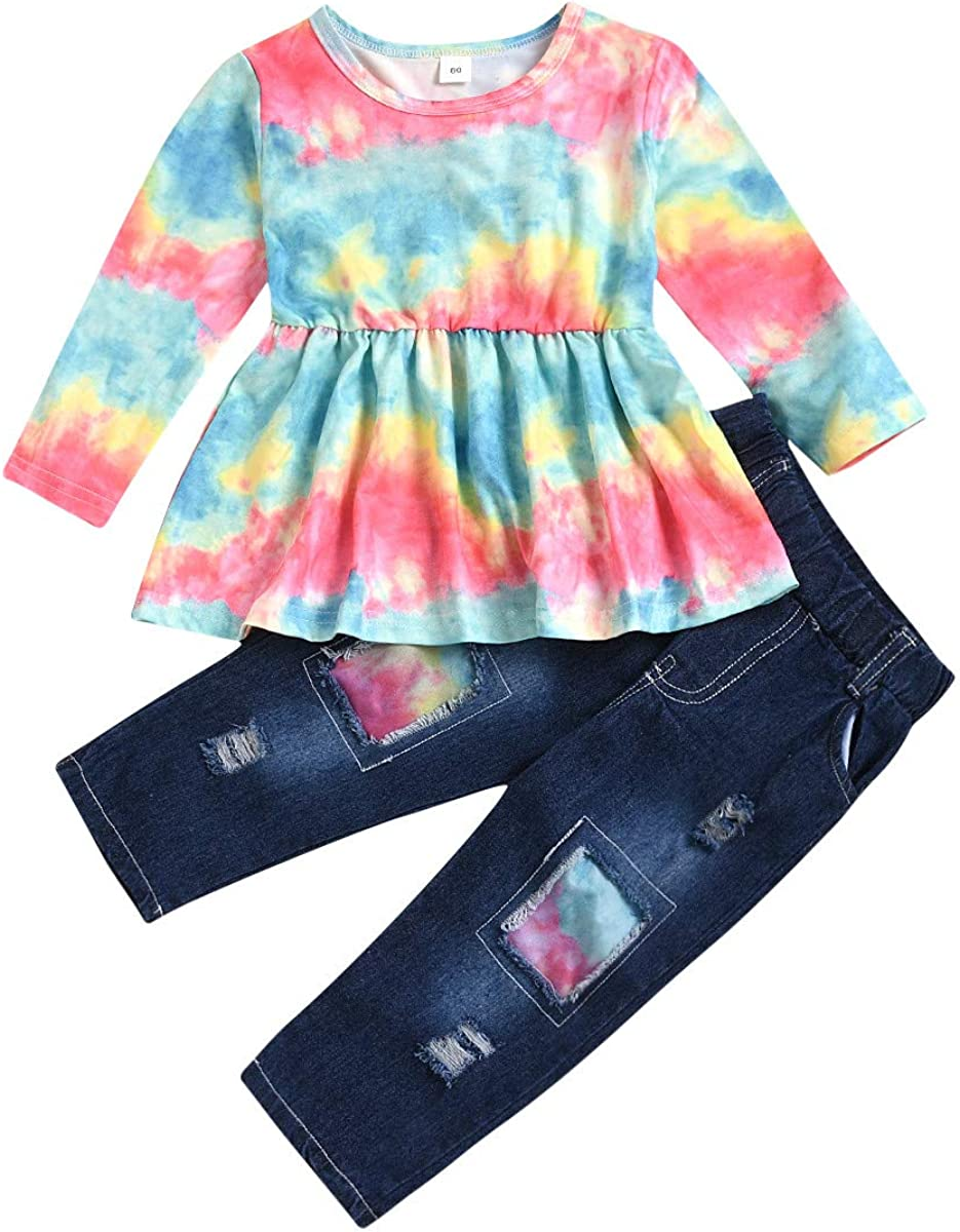 Toddler Kids Baby Girls Jeans Outfits Floral Tunic Dress Top+Ripped Denim Pant Trousers 2 Piece Fall Clothes