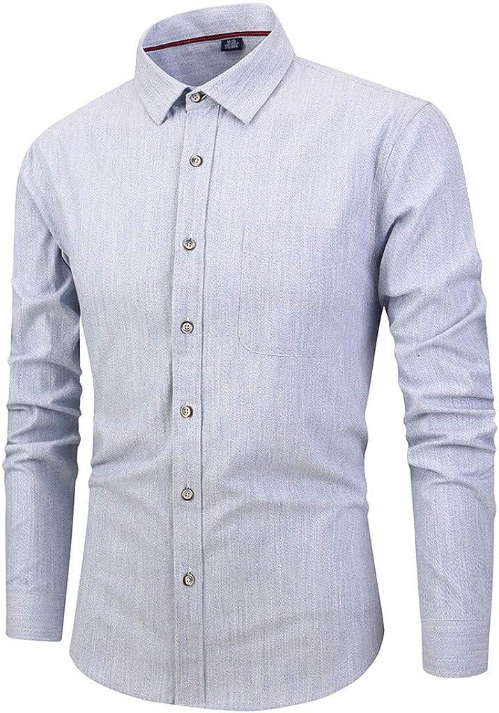 Men's Cotton Shirt Long Sleeve Button Down Shirt, Regular Fit Casual Plaid Dress Shirt Top for Evening Party