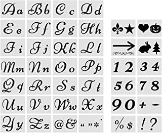 New!Letter Stencils for Painting on Wood - Large Alphabet Numbers Signs Calligraphy Font Upper and Lowercase Letters Stencils - Reusable Holiday Plastic Fancy Art Craft Stencils - 80 Designs 40 Pcs