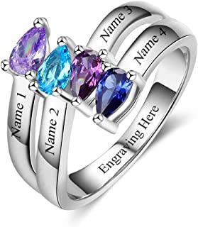Personalized Sterling Silver Mothers Rings with 4 Simulated Birthstones Mothers Day Ring for 4 Children Family Name Rings for Grandmother