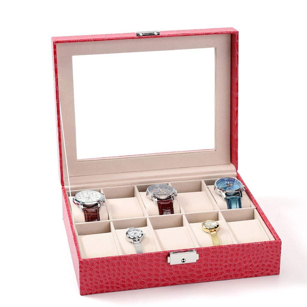 AnchengKAO Cajas Relojes Hombre Caja de colección de Relojes de Cuero de PU Estampado de cocodrilo. Estuche Relojero Vitrina Hecho: Amazon.es: Hogar