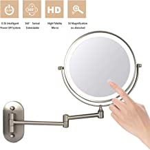 "ZEPHBRA Wall Mounted Makeup Mirror 8"" LED Touch Screen Adjustable Light Double Sided 1X/5X Magnifying Vanity Mirror Swivel Extendable for Bathroom Hotels Powered by Batteries (Not Included) (Nickel)"