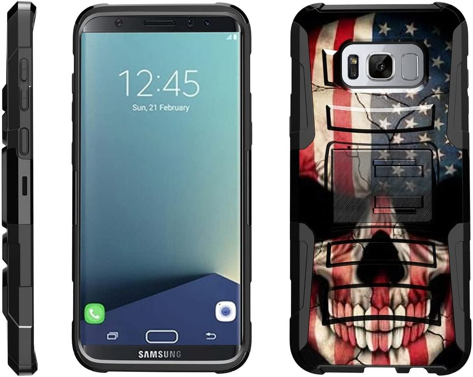 TurtleArmor | Compatible with Samsung Galaxy S8+ Case | S8 Plus Case | G955 [Hyper Shock] Hybrid Dual Layer Armor Holster Belt Clip Case Kickstand - US Flag Skull