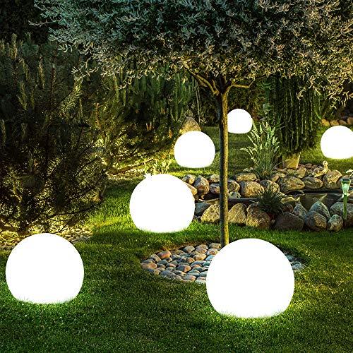 6x LED Außen Solar Steck Leuchten Erdspieß Balkon Kugel Strahler Park Lampen