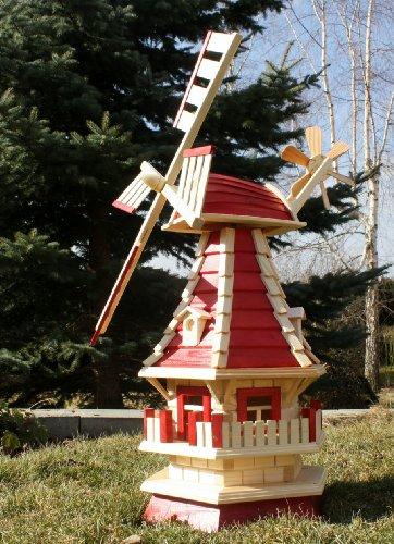 Mulino a vento in legno rosso/natura Tipo 2.1