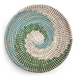 Woven Basket Bowl Wall Hanging | Handmade Decorative Bowl with Hook | Chic Boho Décor, Ideal Housewarming Gift for Her | 11 Inches (Green)