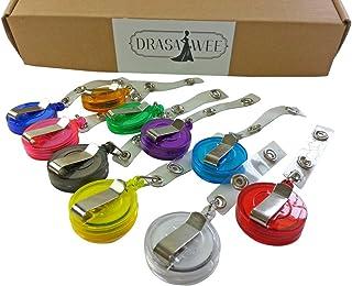 Drasawee 10/20/30/50/100 Pcs Per Pack New ID Badge Holder Reel Retractable Key Clip Wholesale Price 10 Colors