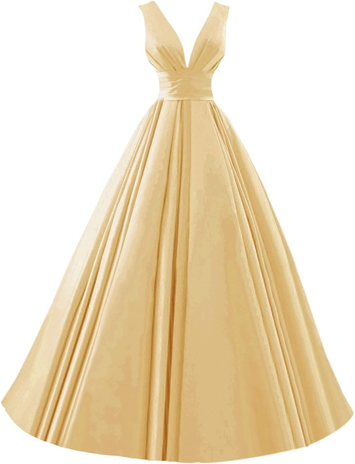 Bess Bridal Women's V Neck Satin Formal Evening Dress Lace Up Prom Gowns