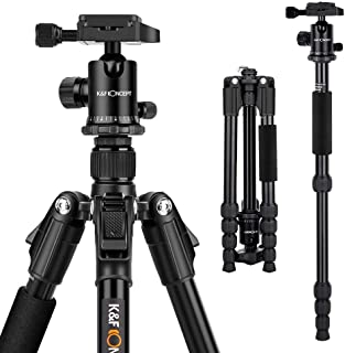 K&F Concept Trípode TM2515 para Cámara Réflex con Monópode 360° Rótula de Bola Panorámica 1/4 Placa Rápida Liberación y Bolsa de Transporte para Canon Nikon Sony Panasonic DSLR hasta 10kg