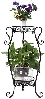 2 Tiers Plant Stand, Metal Flower Pot Rack Potted Plants Holder Indoor Outdoor Patio Flower Display Multi-Purpose Tiered Storage Shelf, 8.66X14.17X25.98in(Black)