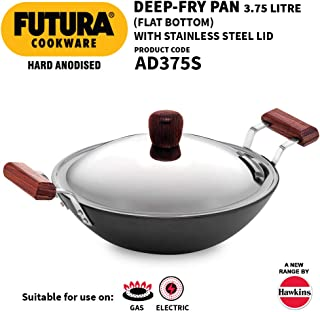 Hawkins - L26 Futura Hard Anodized Flat Bottom Deep-Fry Pan with Steel Lid (3.75 liter, 30 cm)