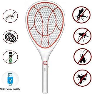 MIGICSHOW Raqueta de Mosquitos El/éctrica Raqueta Recargable con USB Raqueta Repelente de Mosquitos LED Ultrabrillante Repelente de Plagas con Bolsa Anti-Suciedad Interna y Externa