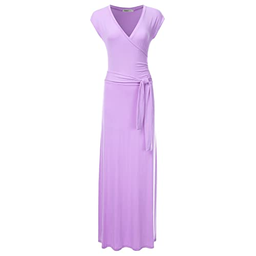 6fe16639f2fd NINEXIS Women s V-Neck Cap Sleeve Waist Wrap Front Maxi Dress