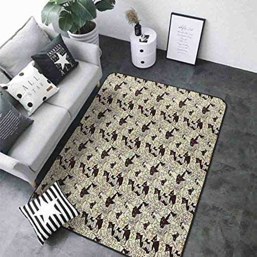 Anti-Slip Toilet Doormat Home Decor Cat,Cute Sketch Kittens Baby Animals Sleeping and Yawning Best Buddies Friendship,Pale Yellow Black 80 x 58 in Carpet Flooring