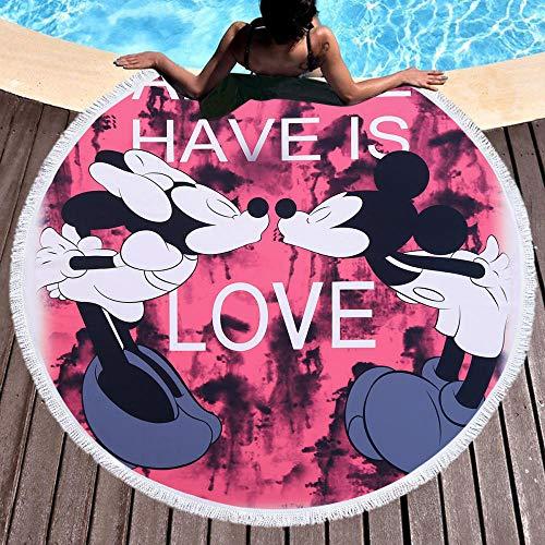 Toalla de Playa Redonda Esterilla de Yoga o para Picnic Manta de Playa Chal de Playa Mickey Mouse