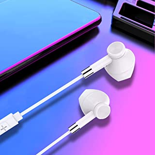 Wired Earphones Half-in-ear Earbuds Extra Bass HD Calls Lightweight Earphones in Ear Headphones with Microphone Volume Con...