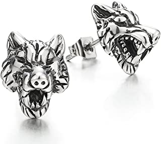 Rock Punk Mens Vintage Wolf Head Stud Earrings in Stainless Steel, 2 Pcs