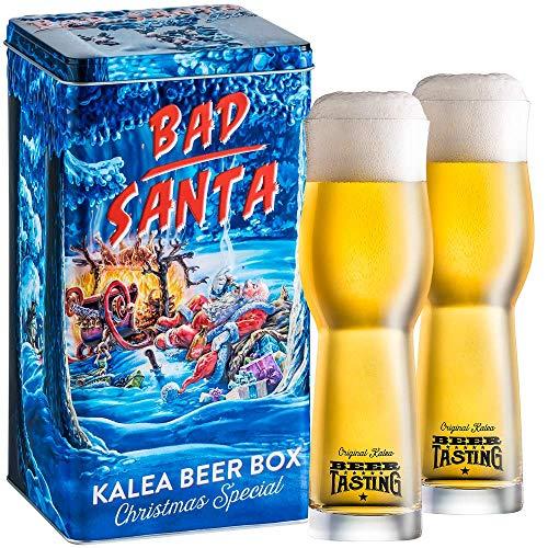 Kalea Beer Box | Metallbox mit 3D-Prägung | 4 X 0.33 L Bierspezialitäten | Inkl. 2 Verkostungsgläser (Edition Bad Santa)