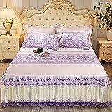 KIKIGO Asiento de Aire Acondicionado Lavable,Ice Silk Air-Conditioned Soft Mat, Raised Lace Skirt, washable-A05_180*200 Three-Piece Set