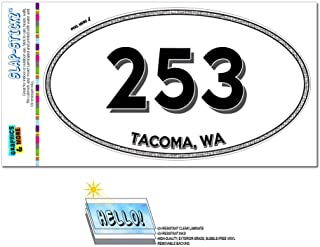 Graphics and More Area Code Oval Sticker 253 Washington WA Anderson Island - University Place - Tacoma