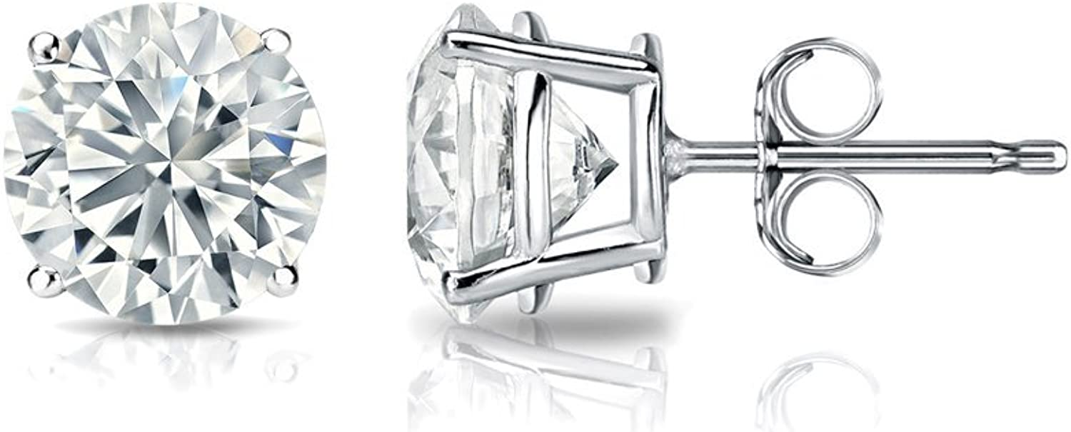 1/6 to 2 Carat Lab Grown Diamond Round Stud Earrings in 14k Gold (G-H, VS1-VS2, cttw) 4-Prong Basket Push Back by Diamond Wish