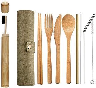 Ecológico Reutilizable Bambú Cubiertos Set,Portátil