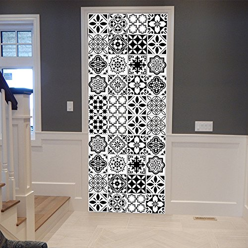 Papel Pintado Puerta Azulejos Blancos Negros Imitación Diy PVC Autoadhesivo Door Sticker Wallpaper Poster Art Decoration 95 x 215 cm