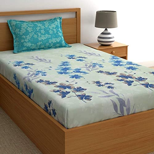 Home Ecstasy 100 Cotton bedsheets for Single Bed Cotton 140tc Floral Blue Single bedsheet with Pillow Cover 4 8ft x 7 3ft