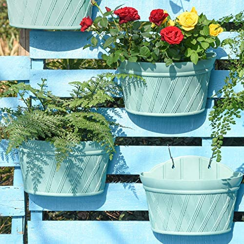 Sungmor Quality Plastic Wall Hanging Planter Semicircle 3PC Pack Green Indoor Outdoor Home Garden product image