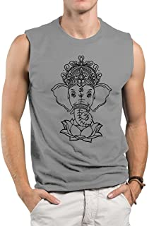Tough Cookie's Men's Regular Muscle Tank Top Yoga Elephant with Lotus Print