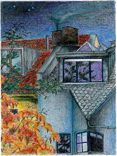 "Original Pastellzeichnung ""Die Dächer Berlins 2"" von Ave Igor, Pastell auf Papier, Signiert, Handgemaltes 