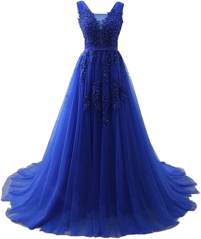 Henglizh Women's Double V Neck Tulle Appliques Long Evening Bridesmaid Gowns
