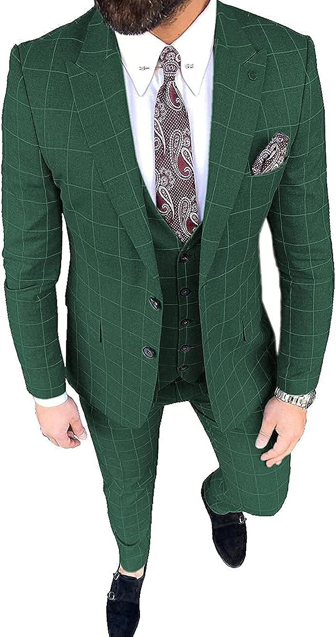 Men's Suit Slim Fits 3 Pieces Plaid Thin Prom Tuxedos Blazer Wedding Grooms