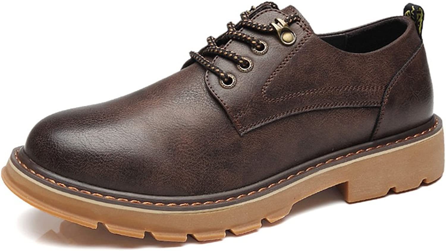 Men's shoes Feifei Spring and Autumn Leisure Breathable Leather shoes 3 colors (color   Brown, Size   EU39 UK6.5 CN40)