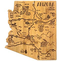 Celebrate life in The Grand Canyon State with this beautiful bamboo cutting board in the shape of Arizona with permanent, laser-engraved artwork Fun, whimsical laser-engraved artwork calls out all the wonderful sights and places in the state from Pho...