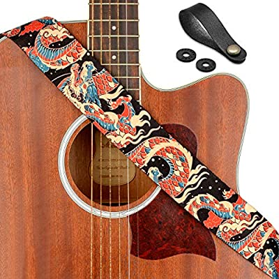 "Rinastore Guitar Strap Unique""Azure Dragon"" Shoulder Strap Includes Strap Button & 2 Strap Locks For Bass, Electric & Acoustic Guitars"