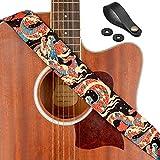 Guitar Strap, Unique'Azure Dragon' Shoulder Strap Includes Strap Button & 2 Strap Locks For Bass, Electric & Acoustic Guitars, by Rinastore (Azure Dragon)