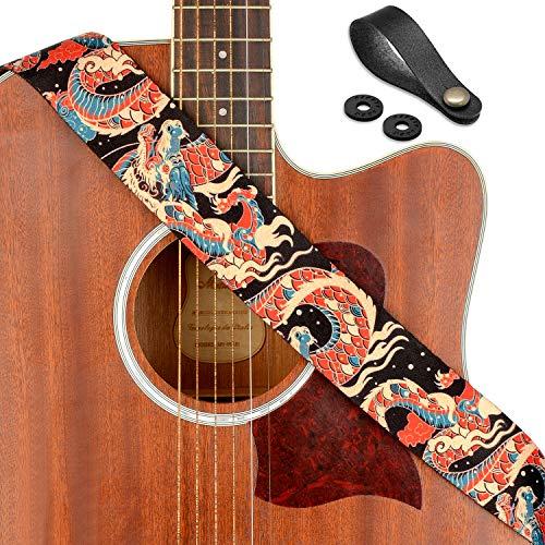 Guitar Strap, UniqueAzure Dragon Shoulder Strap Includes Strap Button & 2 Strap Locks For Bass, Electric & Acoustic Guitars, by Rinastore (Azure Dragon)