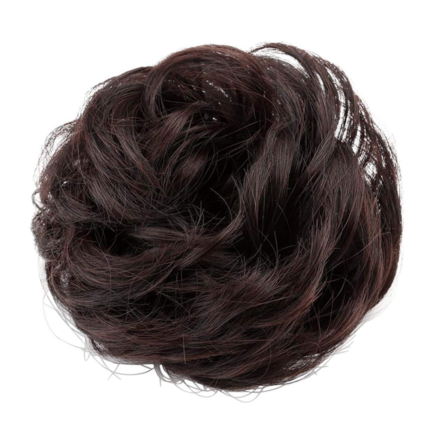 建築家チャーター地域の弾性ヘアバンド短い髪型ツール偽の髪のバンズ結婚式ヘアピース(焦げ茶色)