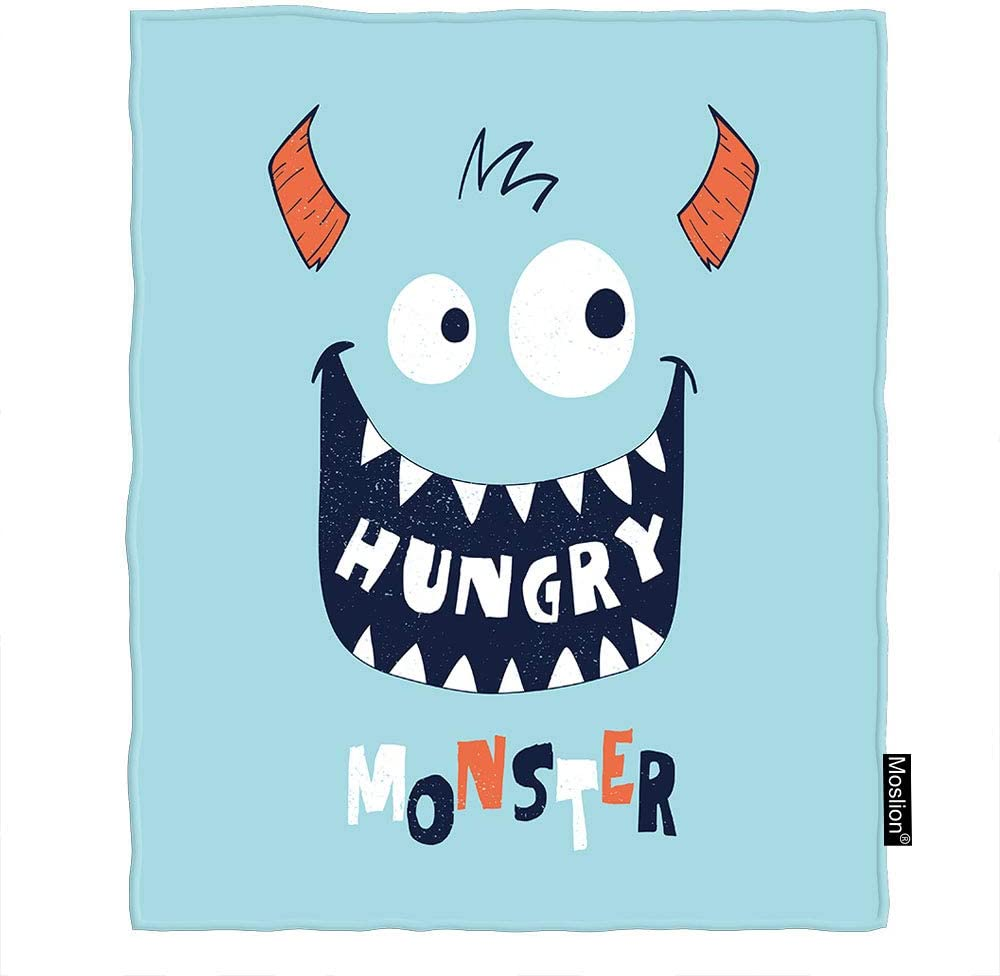 Moslion Hungry Monster Throw 信頼 Blanket Quote 迅速な対応で商品をお届け致します Drawn Cute Anima Hand