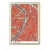 SYBS Decor Paris City Map Lienzo Arte de la Pared Pintura nórdica Carteles e Impresiones imágenes Modernas para la Sala de Estar decoración para el hogar-80x105cm1pcs sin Marco