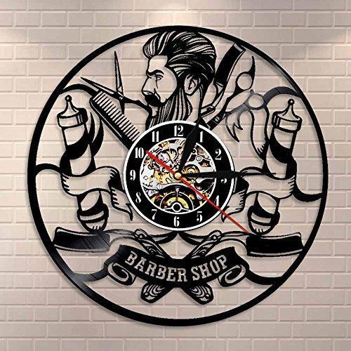 Regalos para Hombres Peluquería Reloj de Pared Logotipo de barbero Arte de Pared Reloj de Vinilo Reloj de salón Corte de Pelo Peluquería Regalo Reloj
