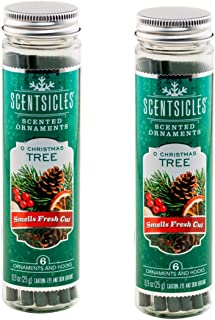 Scentsicles O Christmas Tree Scented Ornaments with Hooks - 2 Bottles (12 Sticks Total)