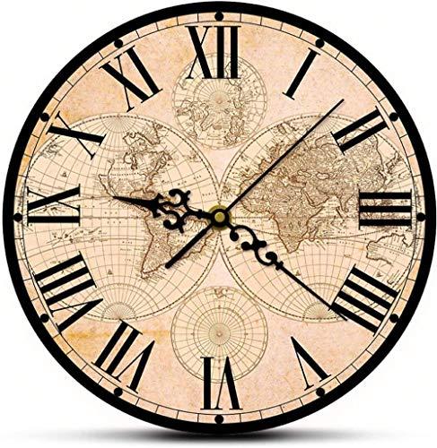 Reloj De Pared Reloj De Pared Digital Mapa Del Mundo Antiguo Del Siglo Xvii Impresión De Bellas Artes Reloj De Pared Moderno Mapa Histórico Del Mundo Reloj De Pared De Barrido Silencioso Regalo De Ina