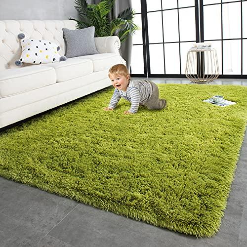 TWINNIS Super Soft Shaggy Rugs Fluffy Carpets, 4x5.9 Feet, Indoor Modern Plush Area Rugs for Living Room Bedroom Kids Room Nursery Home Decor, Upgrade Anti-Skid Durable Rectangular Fuzzy Rug, Green