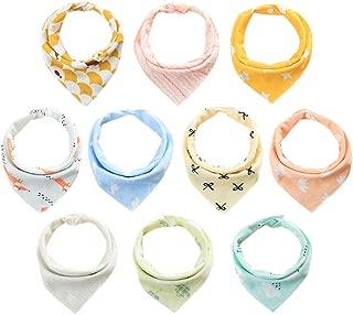 Wankaa Baby Cotton Bandana Drool Bibs Adjustable Snaps Absorbent Bibs Scarf for Newborn Baby Drooling and Teething (10Pcs)