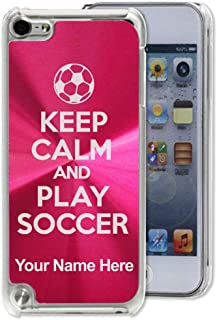Case Compatible with iPod Touch 5th/6th/7th Generation, Keep Calm and Play Soccer, Personalized Engraving Included (Red)