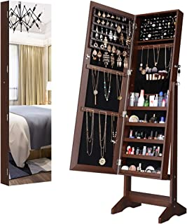 LANGRIA Jewelry Armoire Cabinet Full-Length Frameless Mirror, Lockable Floor Standing & Wall Mounting Large Capacity Jewelry Storage Organizer, 4-Angles Tiltable (Brown)